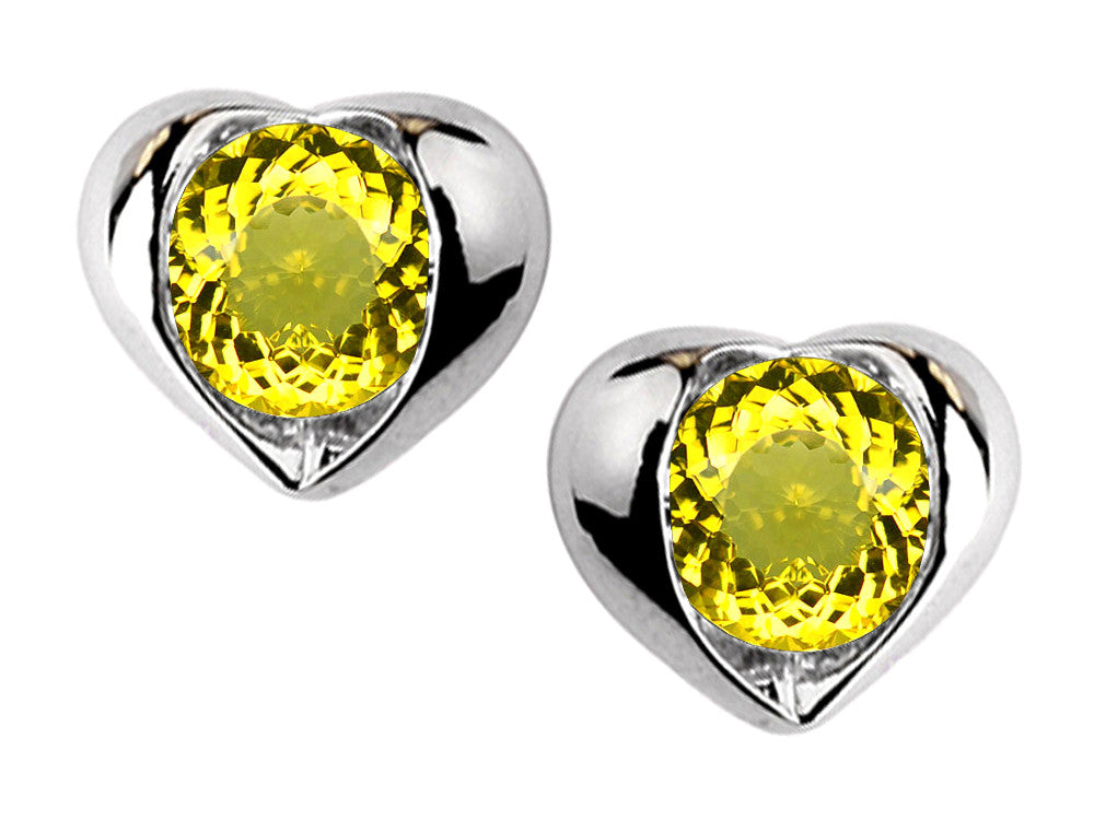 Star K Round 6mm Simulated Citrine Heart Earrings