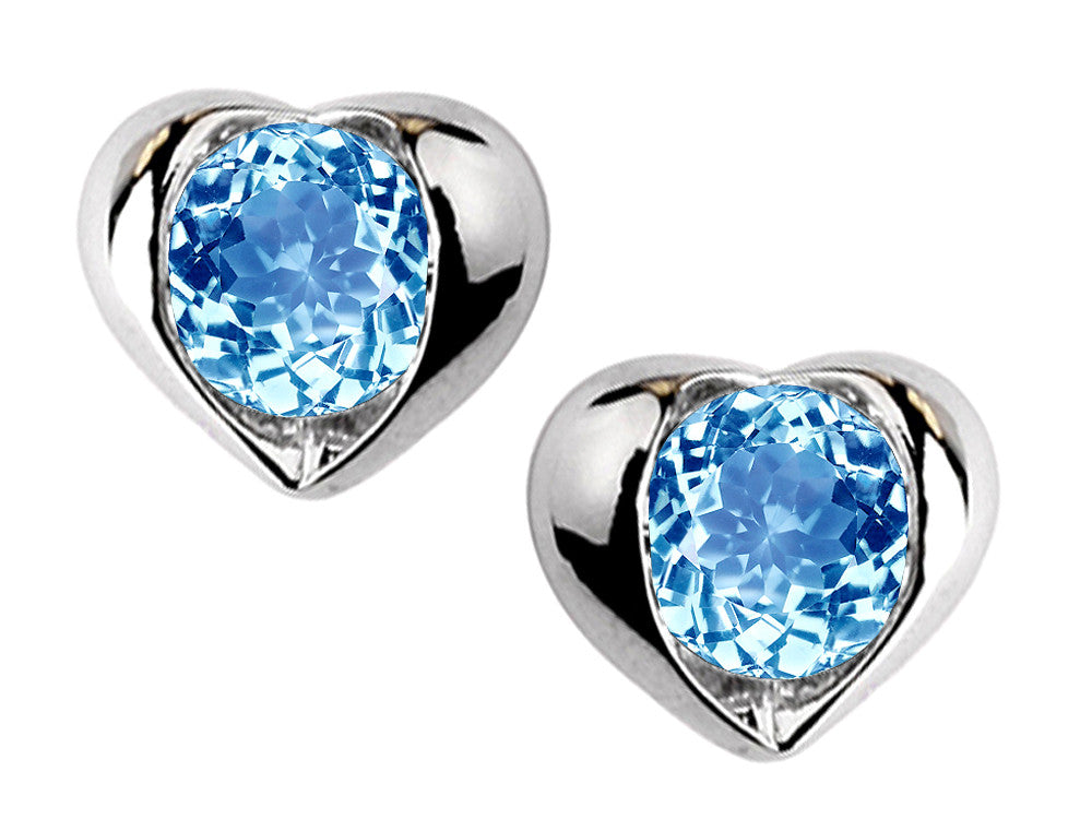 Star K Round 6mm Simulated Blue Topaz Heart Earrings