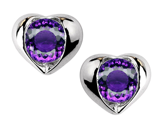 Star K Round 6mm Simulated Amethyst Heart Earrings