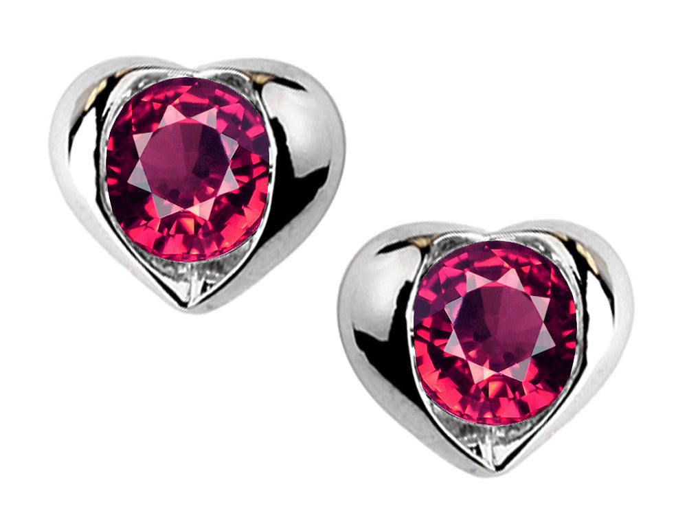 Star K Round 6mm Created Ruby Heart Earrings