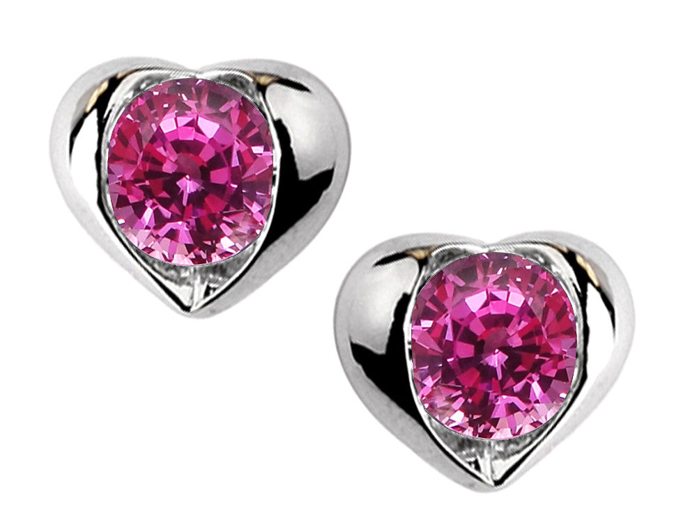 Star K Round 6mm Created Pink Sapphire Heart Earrings