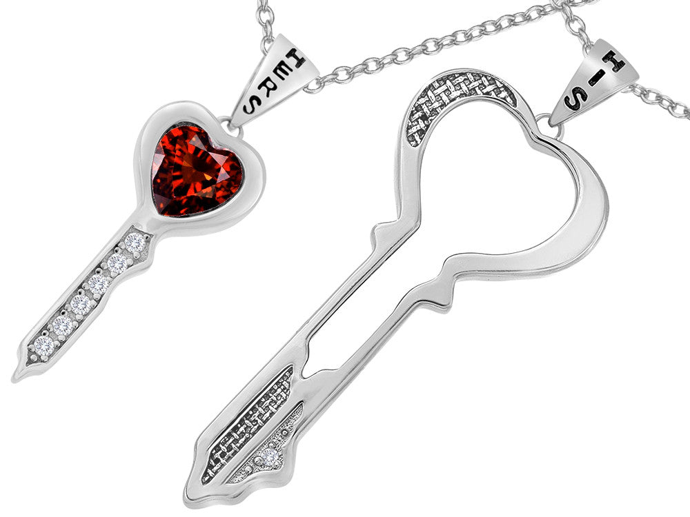 Star K His and Hers Key to my Heart Couple 2pcs Pendant Necklace Set with Simulated Garnet