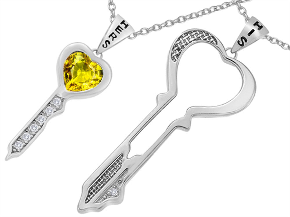 Star K His and Hers Key to my Heart Couple 2pcs Pendant Necklace Set with Simulated Citrine