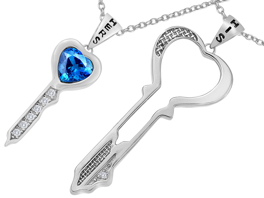 Star K His and Hers Key to my Heart Couple 2pcs Pendant Necklace Set with Simulated Blue Topaz