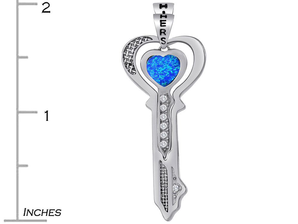 Star K His and Hers Key to my Heart Couple 2pcs Pendant Necklace Set with Blue Created Opal