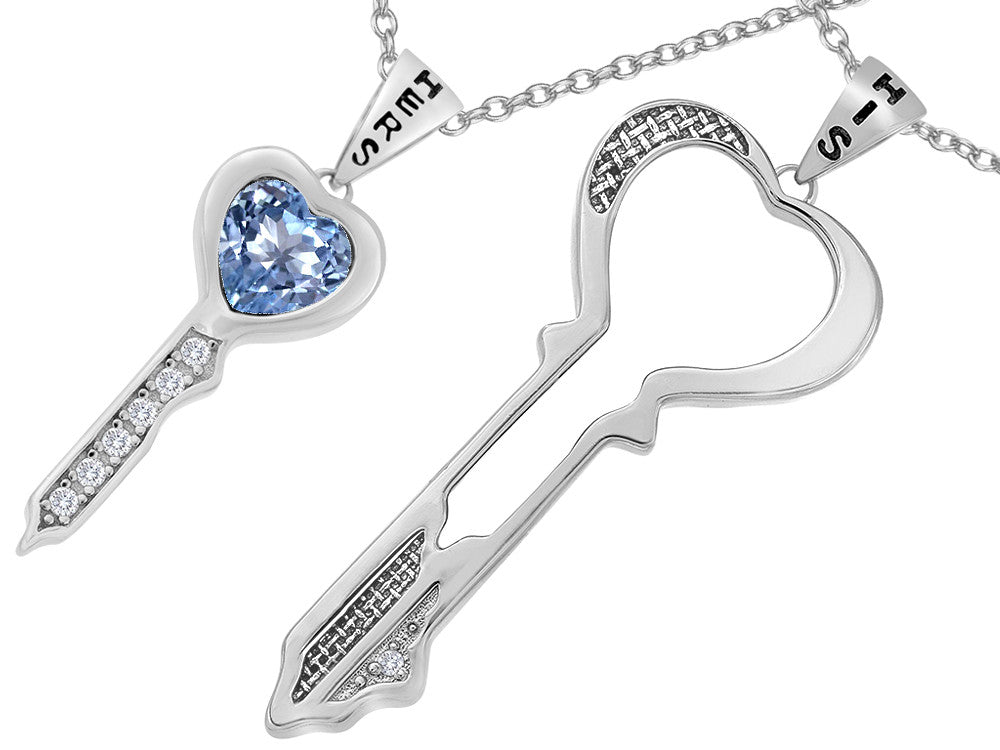 Star K His and Hers Key to my Heart Couple 2pcs Pendant Necklace Set with Simulated Aquamarine