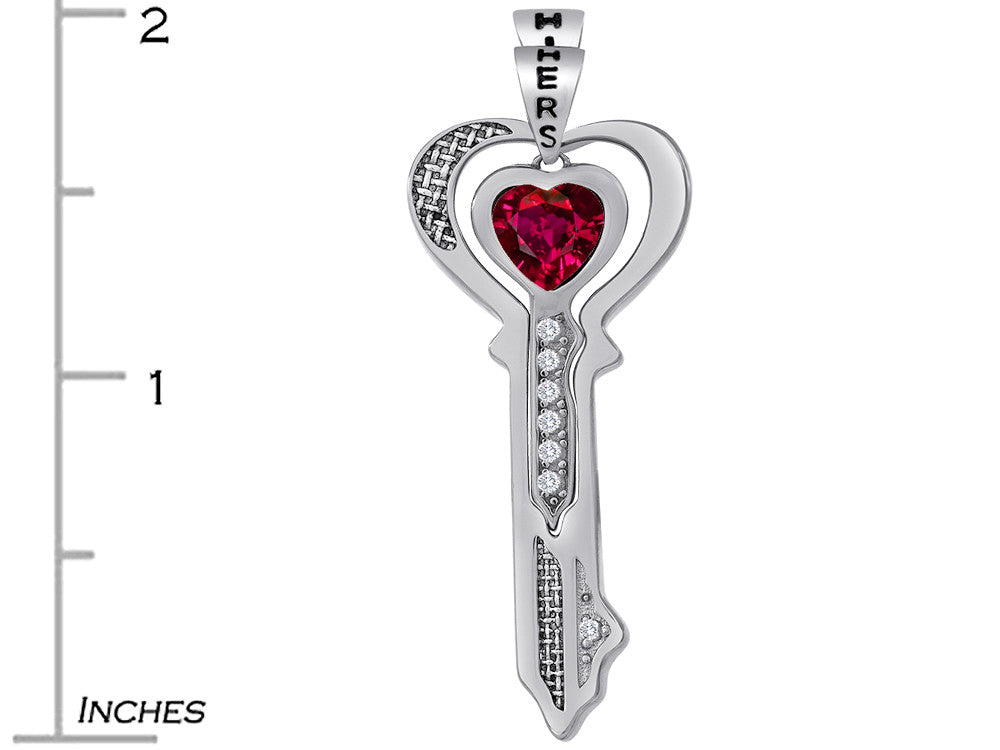 Star K His and Hers Key to my Heart Couple 2pcs Pendant Necklace Set with Created Ruby