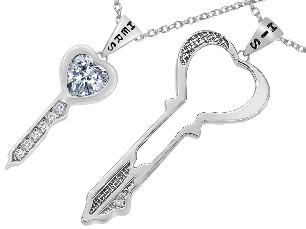 Star K His and Hers Key to my Heart Couple 2pcs Pendant Necklace Set with White Topaz