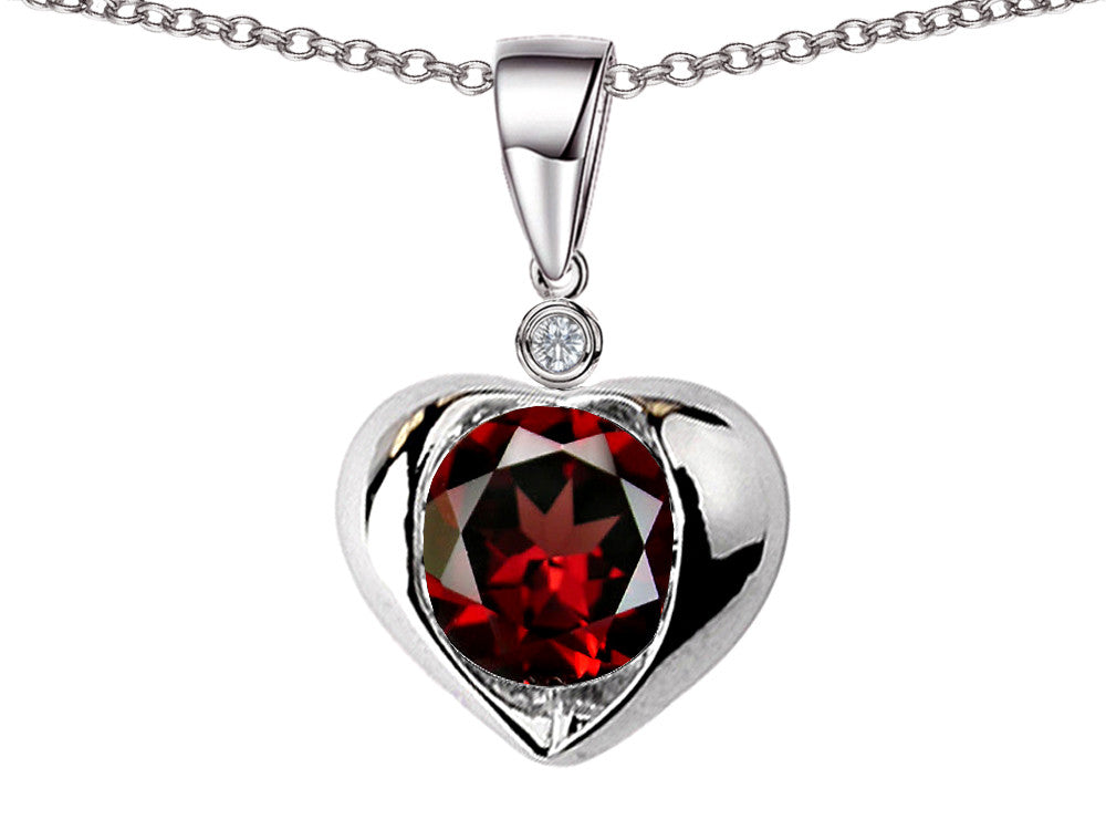 Star K Round 7mm Simulated Garnet Heart Pendant Necklace