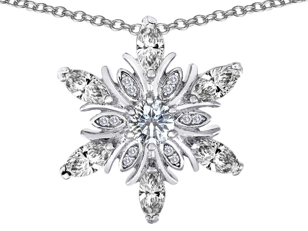 Star K White Topaz Snowflake Pendant Necklace