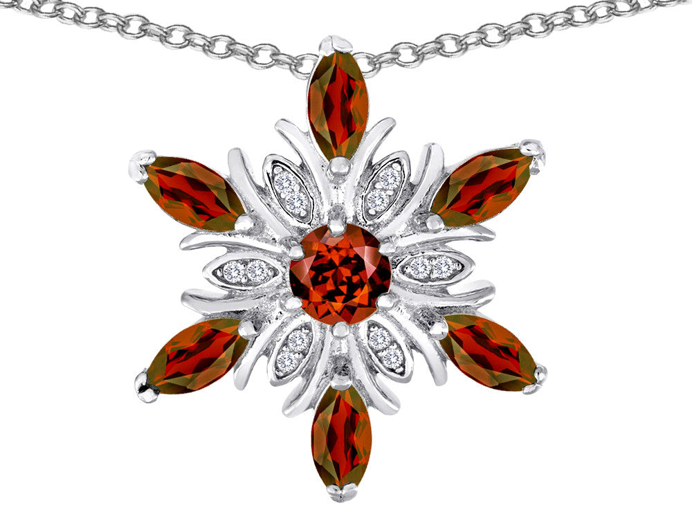 Star K Simulated Garnet Snowflake Pendant Necklace