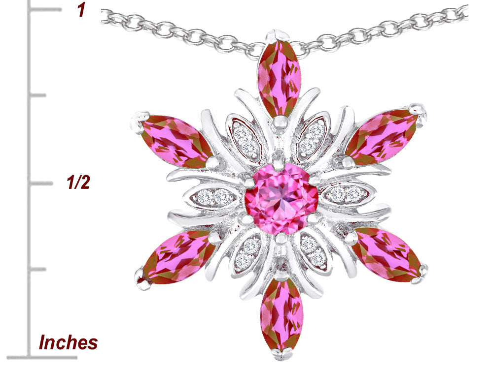 Star K Created Pink Sapphire Snowflake Pendant Necklace
