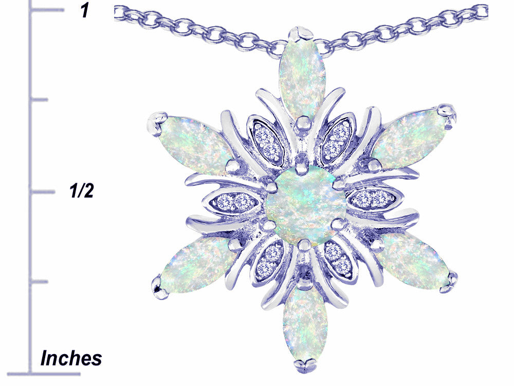 Star K Created Opal Snowflake Pendant Necklace