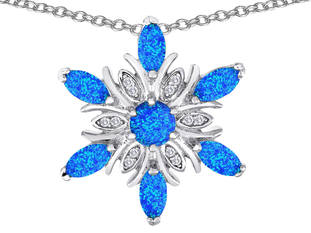 Star K Blue Created Opal Snowflake Pendant Necklace