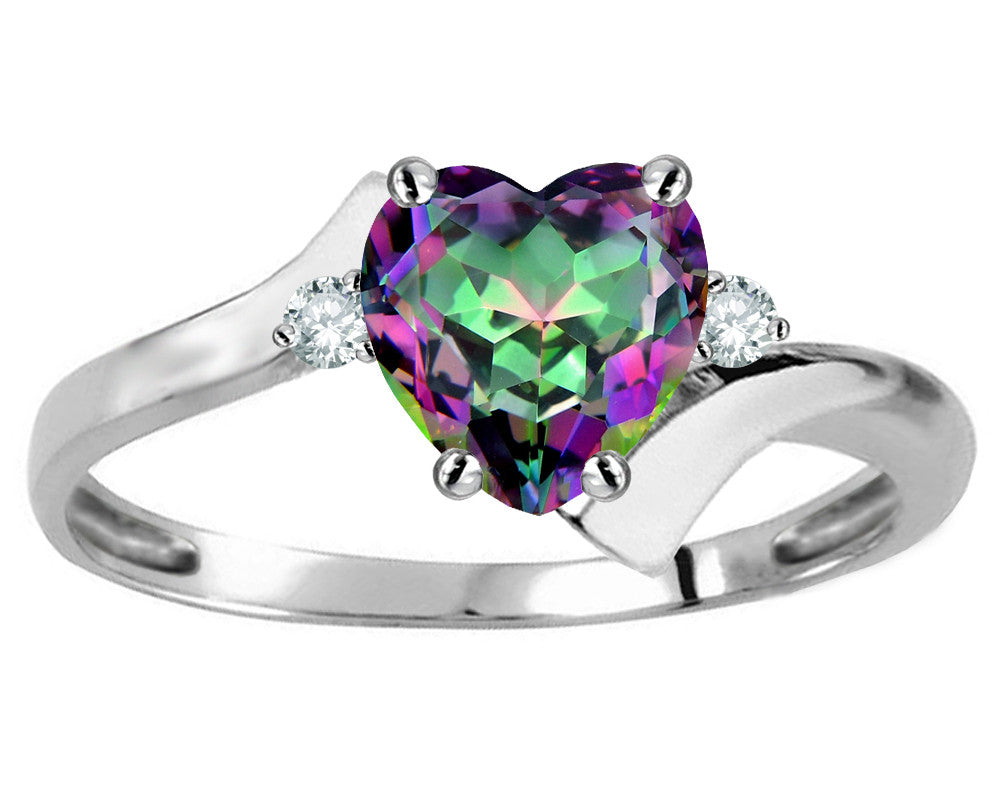 Original Star K Heart Shape 6mm Mystic Rainbow Topaz bypass Ring