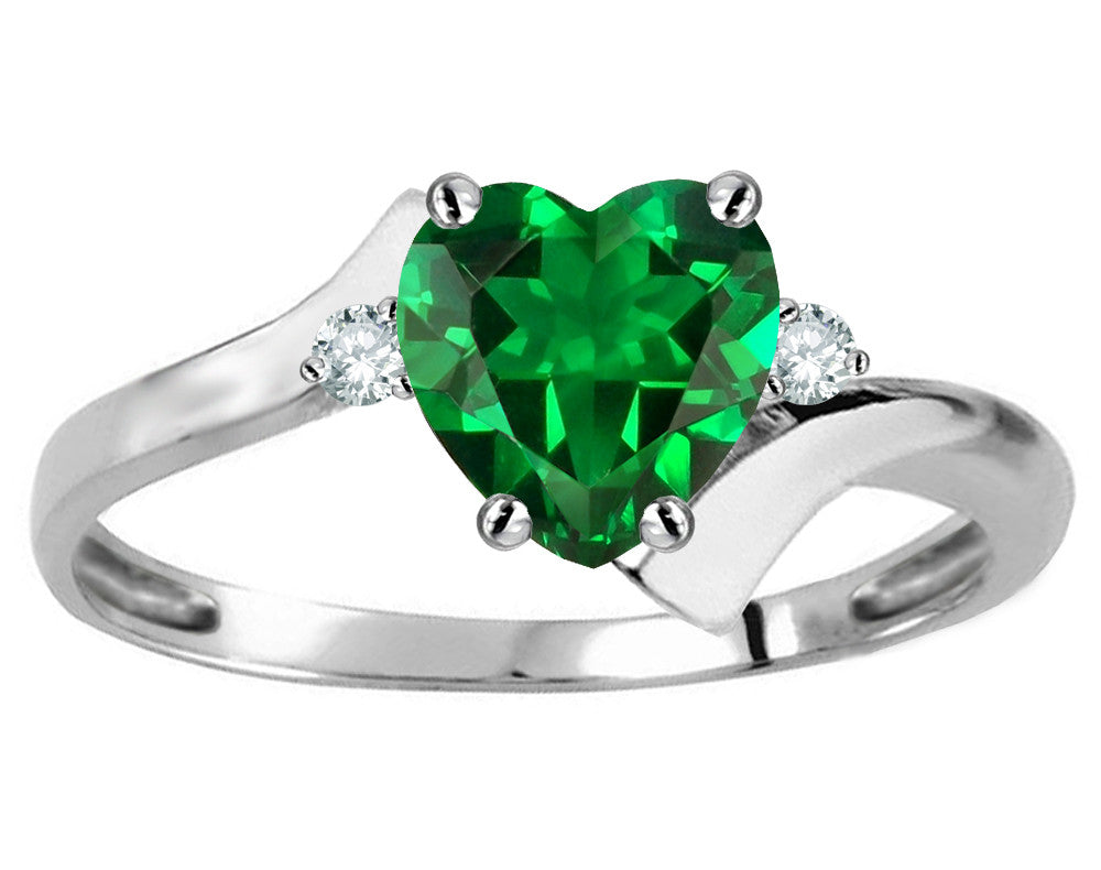 Original Star K Heart Shape 6mm Simulated Emerald bypass Ring