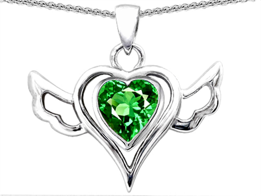 Star K Wings Of Love Pendant Necklace with Heart 7mm Simulated Emerald