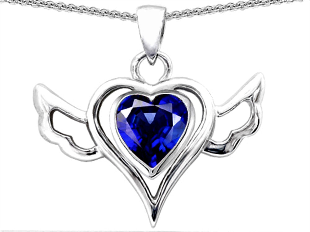 Star K Wings Of Love Pendant Necklace with Created Heart Sapphire