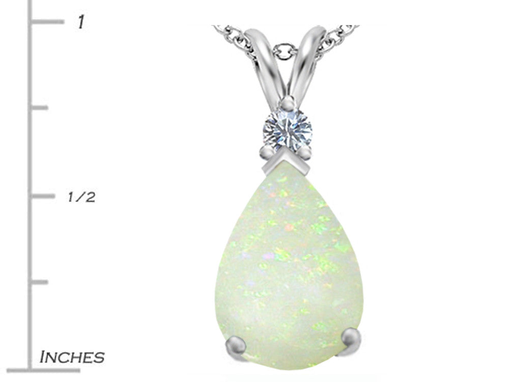 Star K Large 14x10mm Pear Shape Created Opal Pendant Necklace
