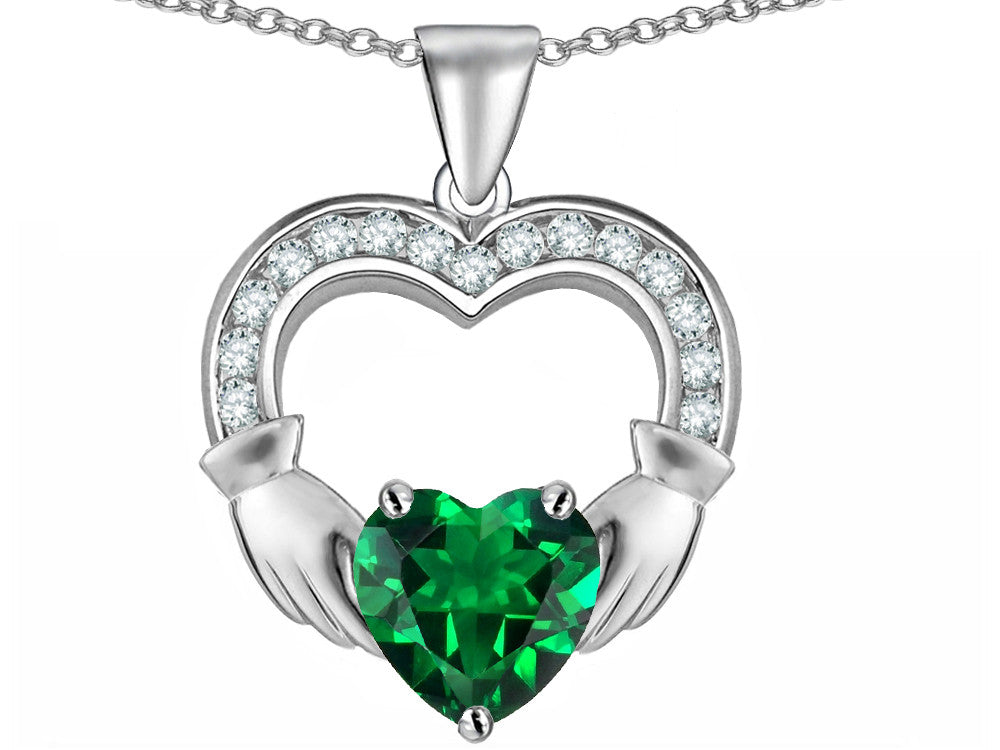 Star K Hands Holding 8mm Heart 1inch Claddagh Pendant Necklace With Simulated Emerald