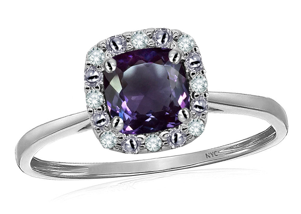Star K 14k White Classic Cushion Cut Simulated Alexandrite Designer Halo Ring