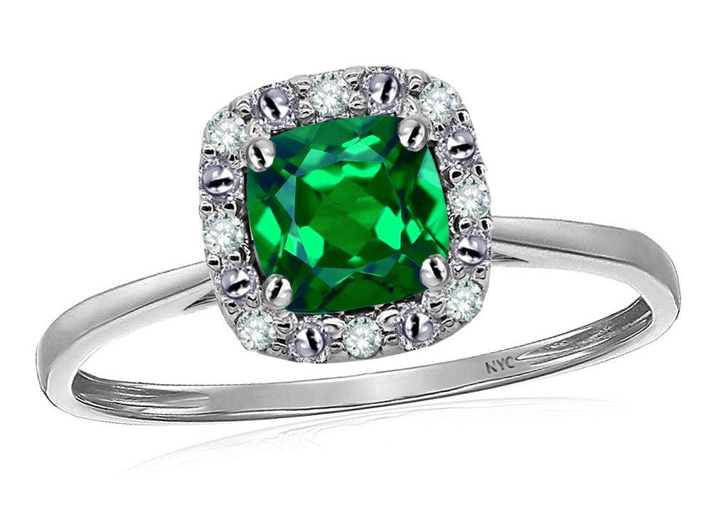 Star K 14k White Classic Cushion Cut Simulated Emerald Designer Halo Ring