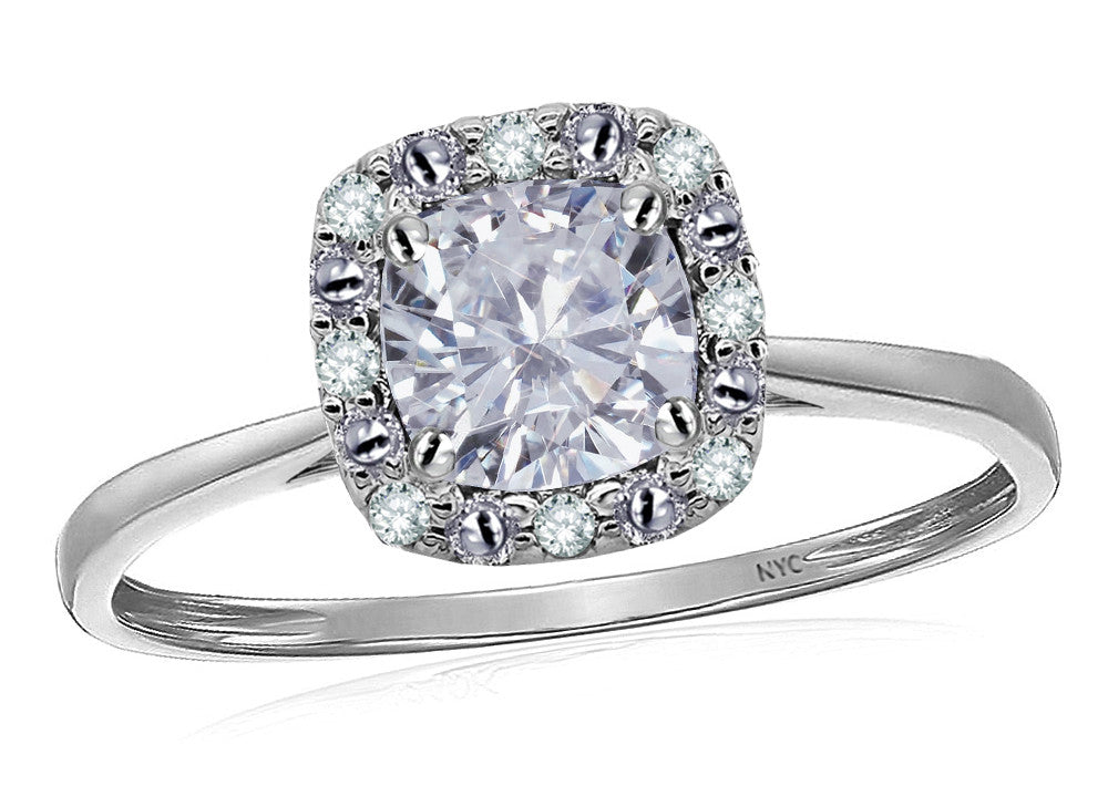 Star K 14k White Classic Cushion Cut White Topaz Designer Halo Ring