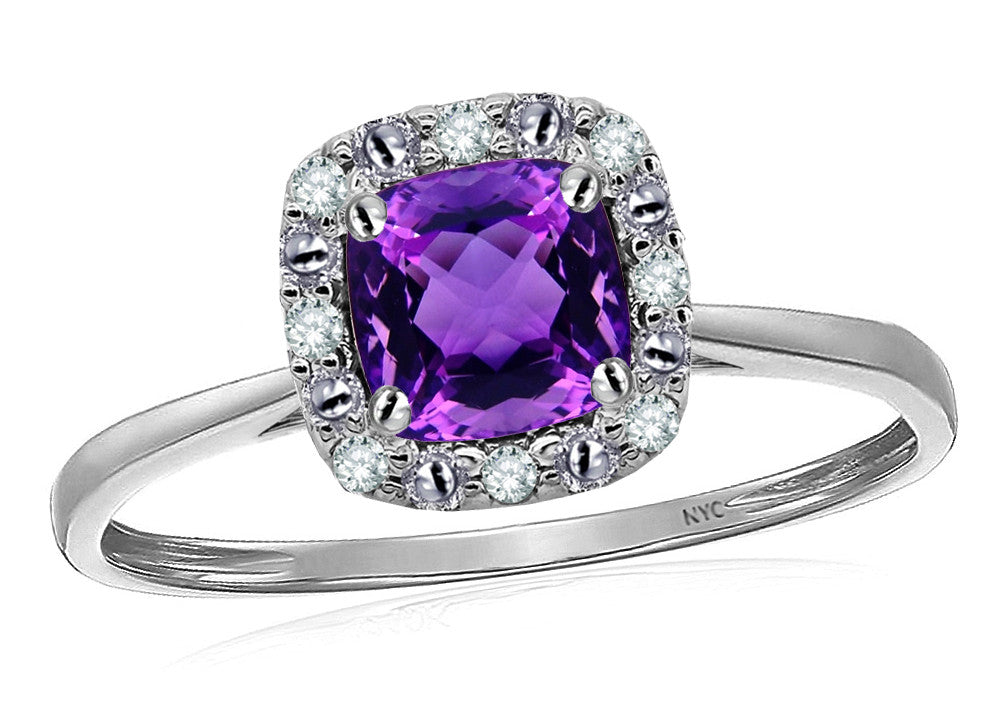 Star K 14k White Classic Cushion Cut Amethyst Designer Halo Ring