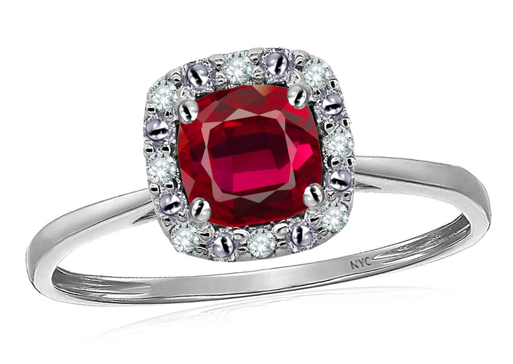 Star K 14k White Classic Cushion Cut Created Ruby Designer Halo Ring