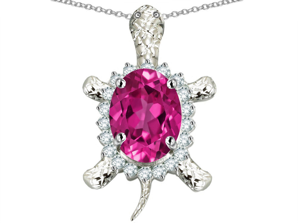 Star K Good Luck Turtle Pendant Necklace With Oval 12x10mm Created Pink Sapphire