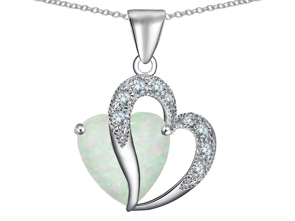 Star K Heart Shape 12mm White Created Opal and Cubic Zirconia Pendant Necklace