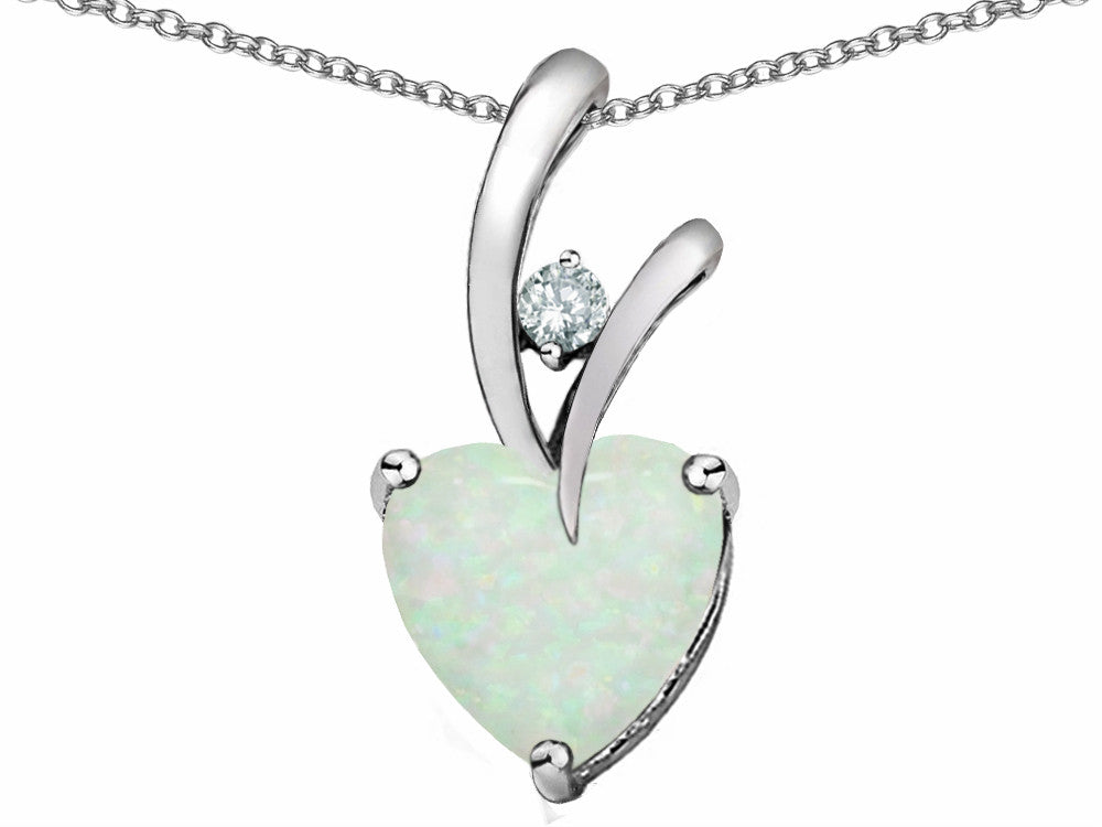 Star K 8mm Heart Shape White Created Opal and Cubic Zirconia Endless Love Pendant Necklace