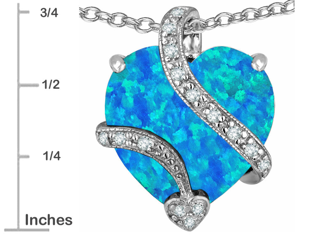 Star K Large 15mm Heart Shape Blue Created Opal and Cubic Zirconia Love Pendant Necklace