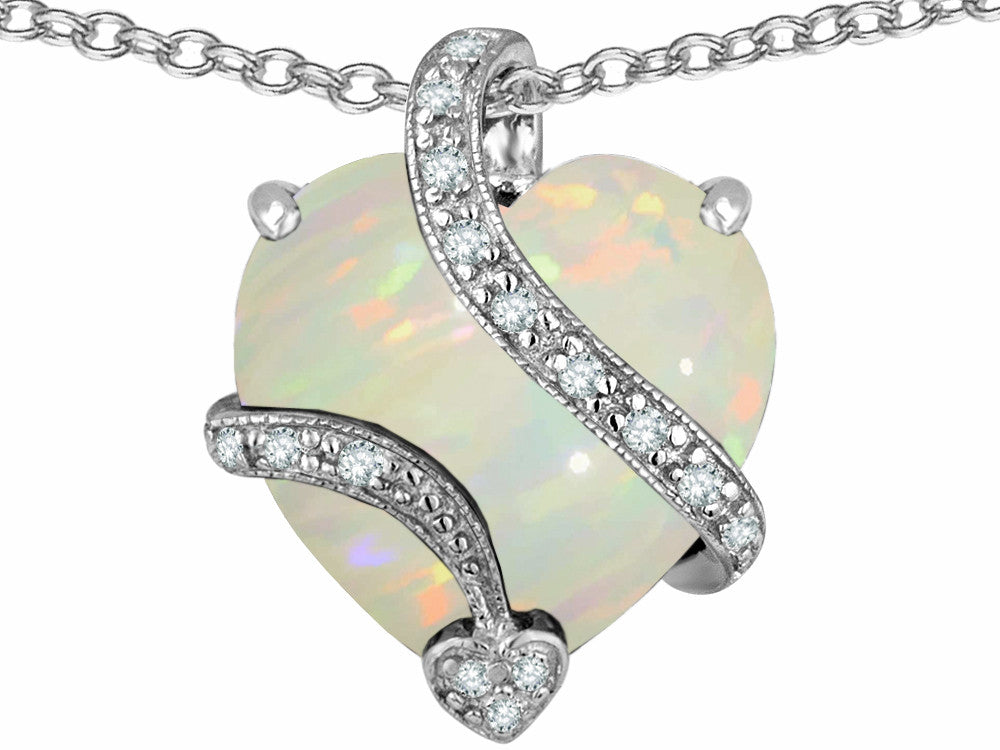 Star K Large 15mm Heart Shape Simulated Opal Love Pendant Necklace