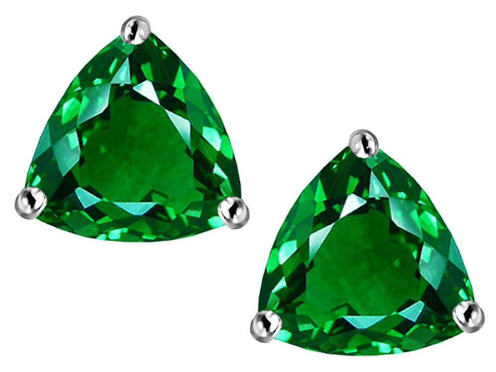 Star K Trillion 7mm Simulated Emerald Earrings Studs