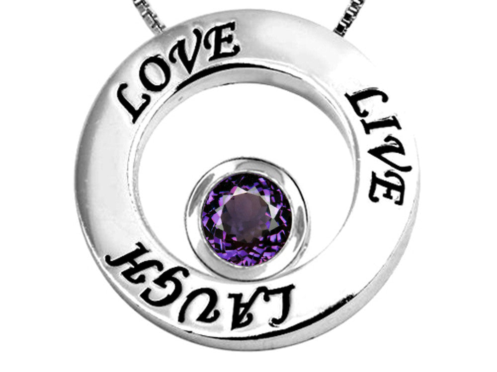 Star K Live/Love/Laugh Circle of Life Pendant Necklace with Birth Month Round Simulated Alexandrite