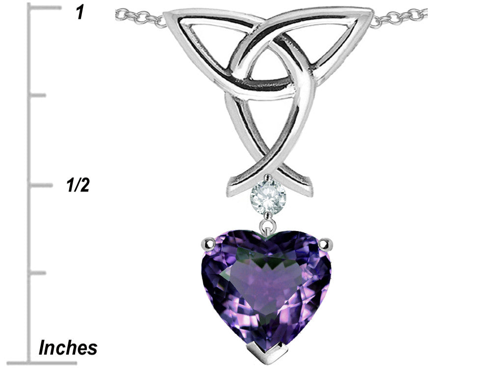 Star K Love Knot Pendant Necklace with 8mm Heart Shape Simulated Alexandrite