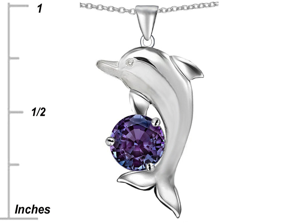 Star K Round 7mm Simulated Alexandrite Good Luck Dolphin Pendant Necklace