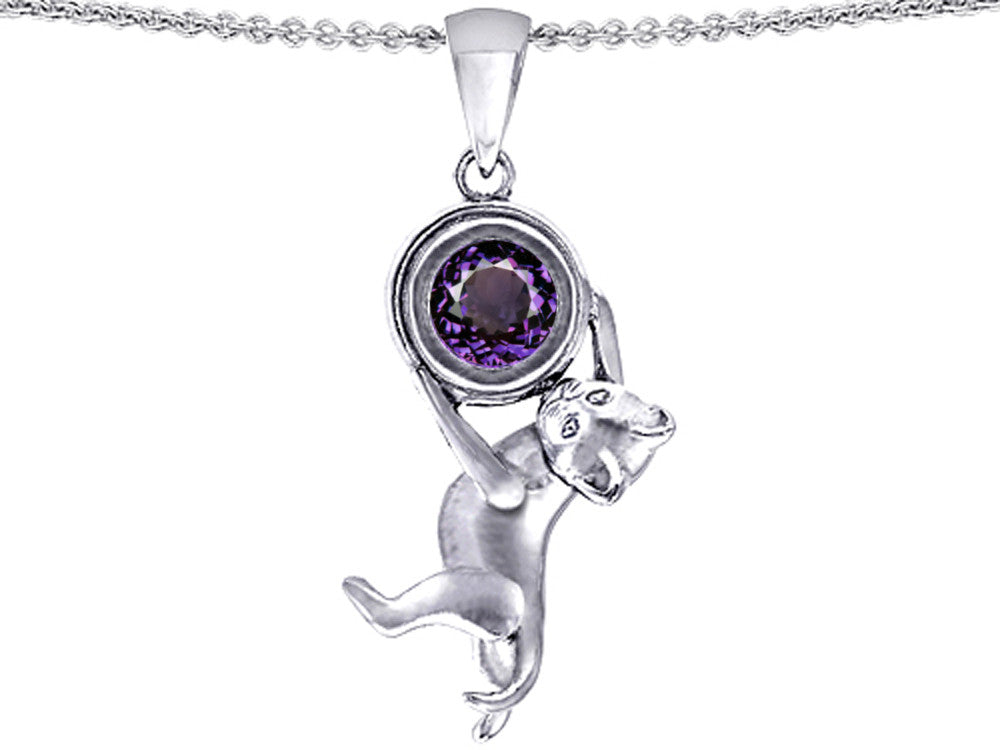 Star K Cat Lover Pendant Necklace with Birth Month Simulated Alexandrite