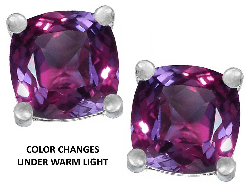 Star K Cushion Cut 7mm Simulated Alexandrite Earrings Studs