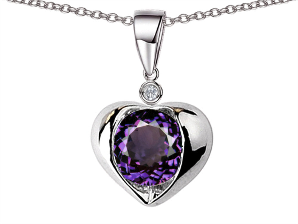 Star K Round 7mm Simulated Alexandrite Heart Pendant Necklace