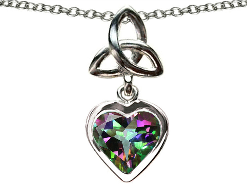 Star K Love Knot Pendant Necklace with Heart 9mm Mystic Rainbow Topaz
