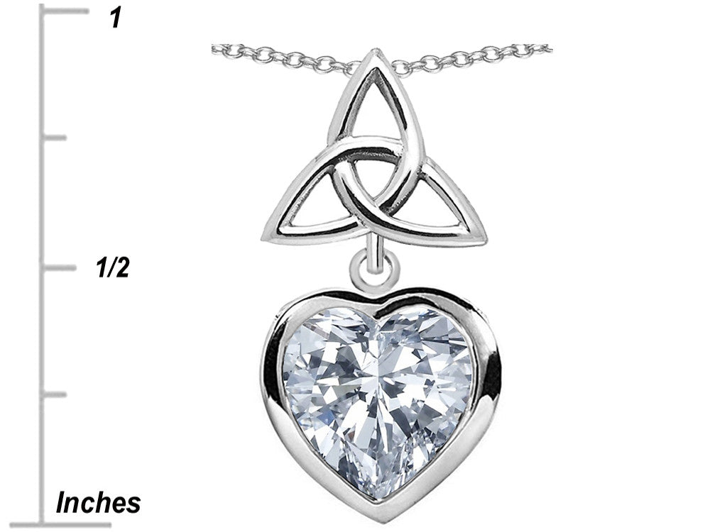 Star K Love Knot Pendant Necklace with Heart 9mm White Topaz