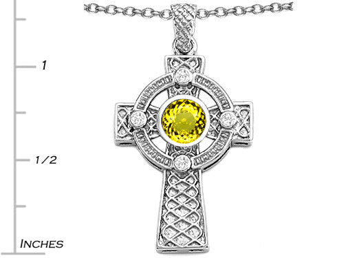 Star K Celtic Cross Pendant Necklace with 7mm Round Simulated Citrine