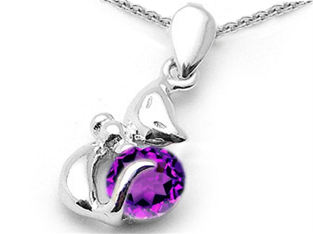Star K Round Simulated Amethyst Cat Pendant Necklace