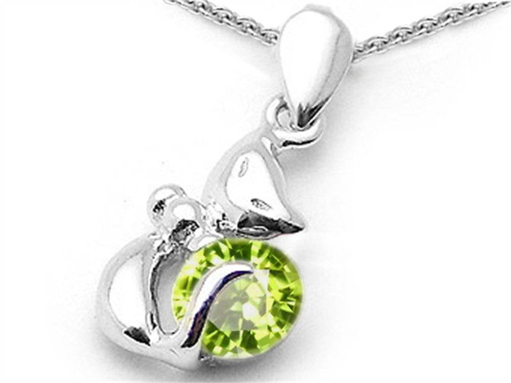 Star K Round 6mm Simulated Peridot Cat Pendant Necklace