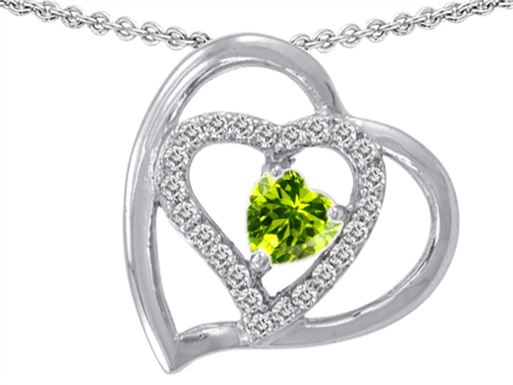 Star K Heart Shape Simulated Peridot and Cubic Zirconia Pendant Necklace