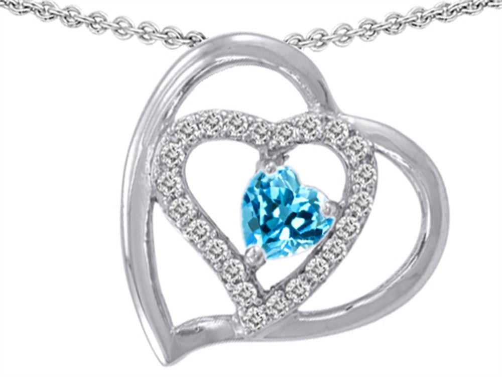 Star K 6mm Heart Shape Simulated Blue Topaz Pendant Necklace