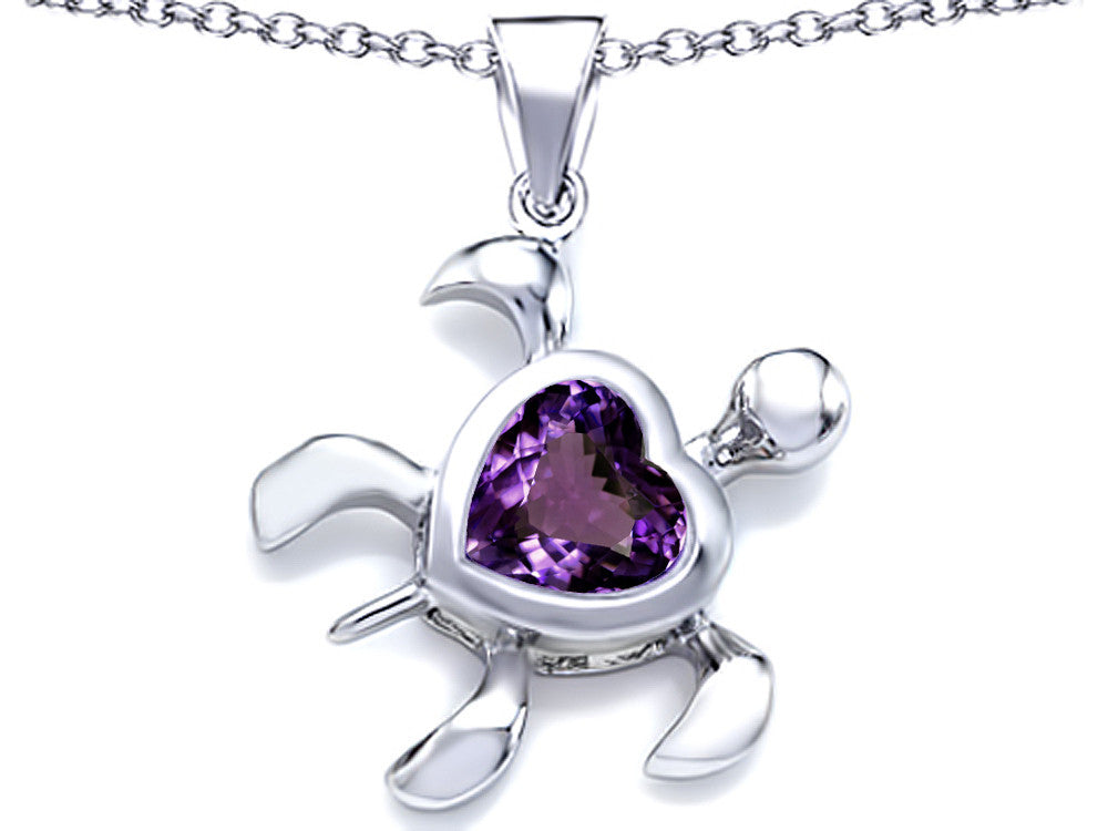 Star K Large 10mm Heart Shape Simulated Alexandrite Sea Turtle Pendant Necklace