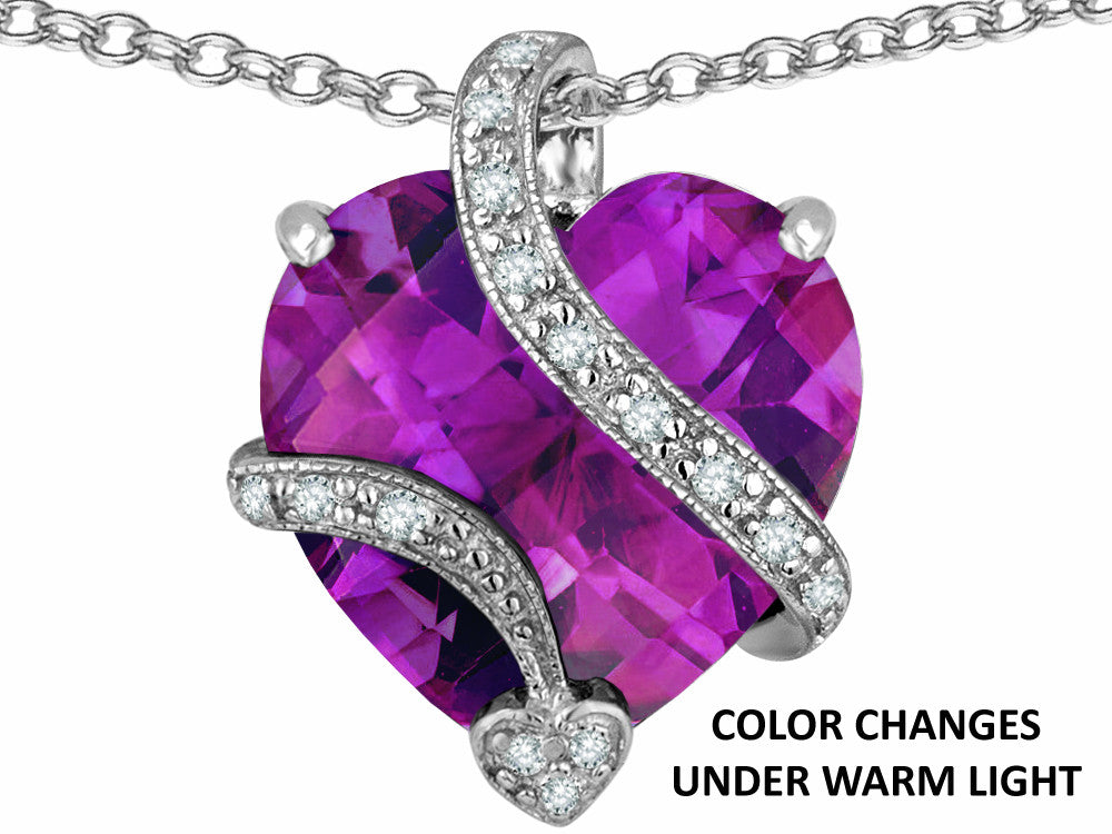 Star K Large 15mm Heart Shape Simulated Alexandrite Love Pendant Necklace